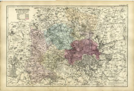 1891 Antique Map MIDDLESEX London HOUSES Farms RAILWAYS Stations WORKHOUSES